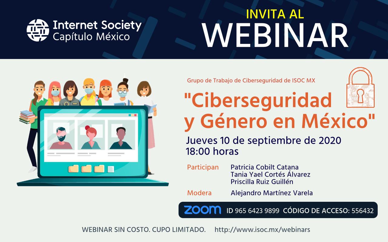 Invitacion al Webinar Ciberseguridad y género en México